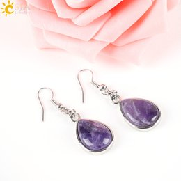 Wholesale Amethyst Turquoise - CSJA Fashion Natural Stone Hook Dangle Water Drop Earrings Solid Jewelry for Women Girl Turquoise Amethyst Pink Rose Quartz Opal Rock E165