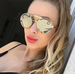 Wholesale Sunglasses Grey Frame Green Lens - Women Designer Sunglasses Frameless Round Vintage Frame Top Quality Transparent Clear Lens UV Protection eyewear Fashion Popular Style 65T