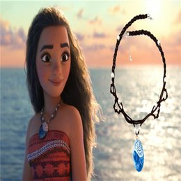 Wholesale Baby Jewelry Charms - Newest Moana Jewelry Cartoon Resin Pendant Necklace Baby Girls Princess Choker Cosplay Props Necklace With Pearl