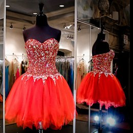 Wholesale Cheap Club Cocktail Dresses - 2016 Red Ball Gown Cocktail Party Dress Sweetheart Beaded Crystals Rhinestones Sexy Backless Cheap Prom Gowns Homecoming Dresses Club Wear