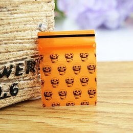 Wholesale Printed Plastic Gift Bags - 1000pcs Lot 2.5x3cm Black Skull printing Small size Orange PE plastic bag Ziplock Resealable Pouch zipped gift bags