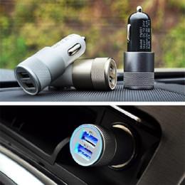 Carregador de carro dupla branco on-line-Qualidade superior 3.1A Material de Alumínio 2 Portas Universal Dual USB Carregador de Carro para o iphone 5s 6g 6 + 6 s plus samsung note5 s6 borda