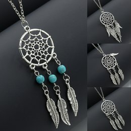 Wholesale Wholesale Sweaters For Women - New Fashion Dream Catcher Sweater Chain Dreamcatcher Leaves Wings Alloy Pendant Necklace For Women Jewelry B992Q