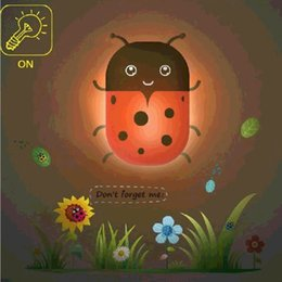 Wholesale Ladybug Light Lamp - Wholesale- Created Paper Wall Lamp Light Sensor Control Wall Light Led Small Baby Night Light honeybee ladybug dolphin giraffe
