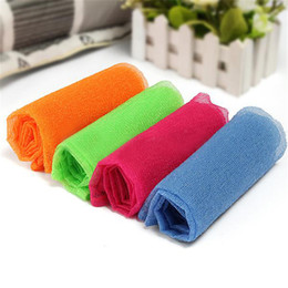herramientas de bronceado Rebajas Jabón para ducha de baño Jabón para el cuerpo exfoliar Puff Esponja Malla Red Toalla de tela de nylon