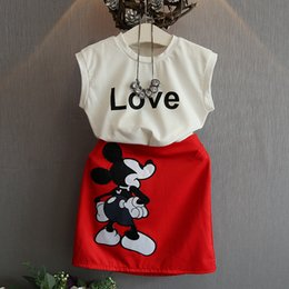 Wholesale Sleeveless For Summer Cartoon - Minnie Mouse Sets For Baby Girls Clothes Mickey Summer 2017 Toddler Kids Sleeveless Bow Cartoon Vest Tops+dress 2PCS Tracksuit girls party