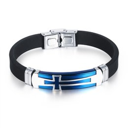 Wholesale Fiber Link - Wholesale-Cool Punk Cross Style Fiber Silicone Bracelet Men Blue Stainless Steel Hand Chain Wristbands Mens Gifts Bangles