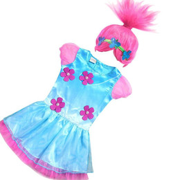 Wholesale Kids Costume Party Dress - Retail 2017 Troll Girls dresses+Wigs set Children Gauze Sleeve Carnival Kids Costumes Summer Girl Dress Cosplay Party Clothes E881