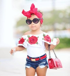 Wholesale New Wave Clothing - New Baby Girls Summer T-shirt White Flower Print Top Clothing Girls Kids Wave Sleeve Cute Floral Soft Comfort Clothes 80-120cm KBT01