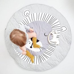Wholesale Rabbit Lion - Baby Rugs Cartoon Rabbit Lion Round 90cm Playmats for Girls Boys Fashion Cotton Carpet White Grey Children's Room Decoration Toys Cute