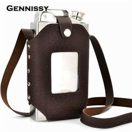 porte bidon carbone vert Promotion GENNISSY 35 oz Big Hip Flask avec étui en cuir de grande qualité Super grande capacité en acier inoxydable ballons en acier