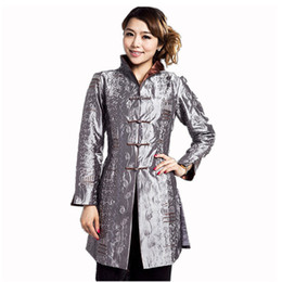 Wholesale Chinese Traditional Jacket Women - Wholesale- Gray Traditional Chinese style Ladies Jacket Women Satin Embroidery Flower Coat Plus Size S M L XL XXL XXXL 4XL 5XL