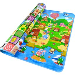 Wholesale Toys For Kids Crawling - Toys For Kids Baby Play Mats Baby Toys Mat Children Fruit Letter Happy Farm Double-sided Baby Crawling Play Mat 2109068