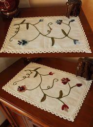Wholesale Lace Doilies Fabric - Wholesale- Rectangle Cotton Fabric Crochet lace doily Europe decorative dish cup pad Red Blue Flower Table placemat Decoration &Accessories