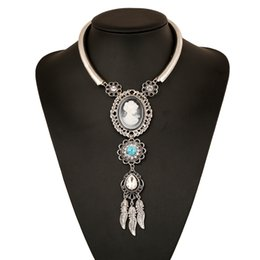 Wholesale Opal Antique - Vintage Lady Queen Cameo Pendant Antique Silver Plate Opal Crystal Necklace 2017 Hot Sale Woman Gem Statement Jewelry