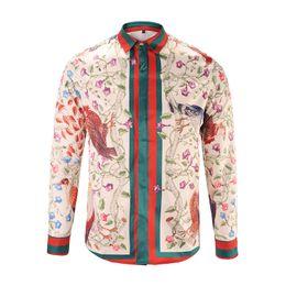 Wholesale Leopard Print Men Shirt - Wholesale 2017 New Autumn Fashion Brand Men Colthes Slim Fit Men Long Sleeve Shirt Medusa gold chain print Shirts Men Casual Business Shirts