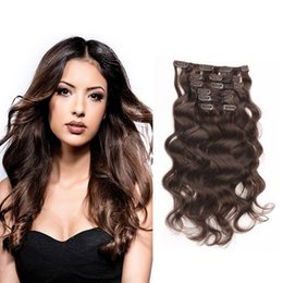 Wholesale Water Wave Remy Extensions Colors - Clip in Hair Extensions Brazilian Remy Human Hair 16-26inch #4 Dark Brown Full Head Water Wave Human Hair Extensions 70-220g 7pcs set