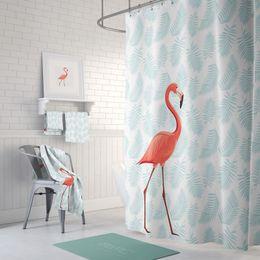 2019 eco amigável espessamento chuveiro cortina PEVA Eco-Friendly Red Flamingos Cortina de Chuveiro À Prova D 'Água Cortina Do Banheiro Engrossar Mildew À Prova de Casa de Banho Cortina de Partição 180 cm * 200 cm eco amigável espessamento chuveiro cortina barato