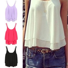 Wholesale Loose Crop Top Tanks Wholesale - Wholesale-2016 New Women Summer Tank Tops Casual Chiffon Double Layer Sleeveless Loose Solid Crop Top Plus Size S-4XL
