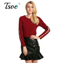 Wholesale Shits Long Sleeve Woman - Tsoe Long sleeve blouse shit women tops Casual 2017 summer hollow out shirts Cotton white blouses chemise femme blusas