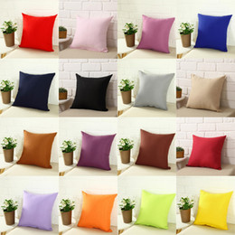Wholesale gift blanks - Pillowcase Pure Color Polyester White Pillow Cover Cushion Cover Decor Pillow Case Blank Christmas Decor Gift 45 * 45CM Home Sofa Throw