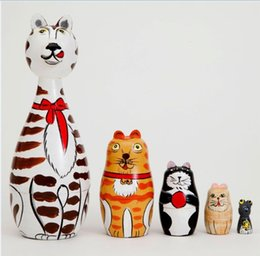 Wholesale Classic Paintings - 1XSet=5PCS Cat Wooden Matryoshka Russian Doll Hand Painted Wooden Nesting Dolls Matryoshka Children Christmas Halloween Gifts Toy