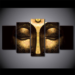 Wholesale Decoration Buddha - 5 Pcs set No frame Half-face Buddha Paintings on Canvas Modern home decoration Wall Art print Picture Room decor Wall poster