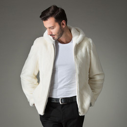 Wholesale Mink Fur Coat Hood - New winter white men's Imitation mink fur coat male slim with a hood jacket personality casual thermal fur outerwear S-4XL