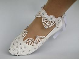 Envío gratis nueva moda luz blanca de marfil de encaje de cristal plana ballet zapatos de vestir de boda tamaño 5-9.5 desde fabricantes