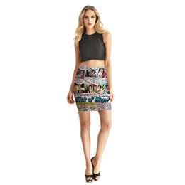 Wholesale Newspaper Letters - Wholesale-Women Skirt 2017 Newspaper Letter Printed Skirts Pencil Skirt For Woman Short Saias Free Shipping