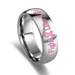 Wholesale Wholesale Horn Jewelry - Wholesale- eejart Women's Ring of Support Breast Cancer Awareness Pink Rings for Women Female Organization Jewelry Wholesale