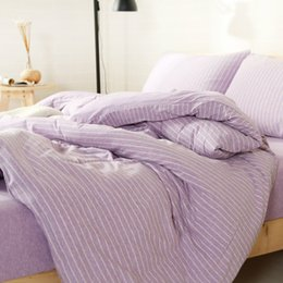 Wholesale Striped Full Flat Sheet - 4PCS Knitted Cotton Naked Bedding Set Bedlinen Bed Sheet Striped Full Queen King Duvet Cover Pillowcase Flat Fitted Bedsheet