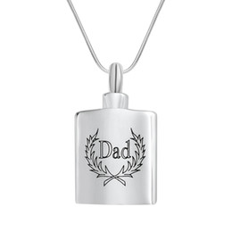 Wholesale keepsakes bottle - Cremation Jewelry DAD with Olive Branch Bottle Urn Ashes Necklace Memorial Keepsake Pendant With Gift Bag and Funnel