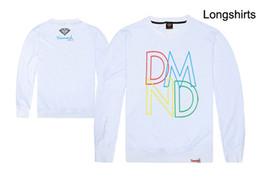 Camisa de diamante nova chegada on-line-Diamante de manga longa t-shirt mais recente estilos new arrival moda casual algodão camisetas para homem meninos hip hop longo tees venda suor frete grátis