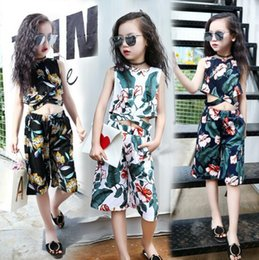 Wholesale New Cute Girls Fashion Set - New Summer Fashion Special Lovely 2Pcs Printing Sets Outfits Cute Tops + 3 4 Long Pant Good Quality 6Sizes 110cm-160cm Kids Girl Cloting SET