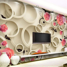 Wholesale Fantasy Photos - Wholesale-3D photo wallpaper 3d Rose circle fantasy floral living room sofa bedroom backdrop 3D large wall mural wallpaper Modern painting