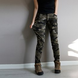 Wholesale Camouflage Cotton Pants Women - Wholesale- Super Quality Army Green fatigue Camouflage Cargo Pants plus size High Stretch Jeans Femme Skinny Denim jeans womens baqueros
