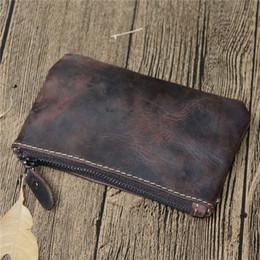 Wholesale Cowhide Coin Pouch - Free Shipping! crazy horse genuine leather Key Pouch zip Wallet Coin bag Wallets Women men designer Brand mini money wallet purse bag