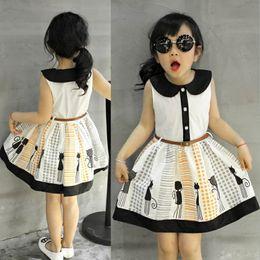Wholesale Dress For Girl Kitty - Kids Clothes 2017 Summer Clothes Baby Girl Boat Neck Sleeveless Dress Children Kitty Cat Vest dresses for Girls Clothing