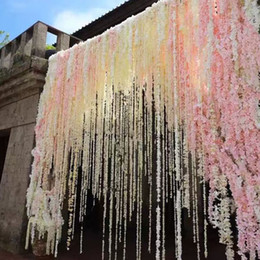 100 cm Artificial de seda falsa rosa flor vid decoración de la boda flor hecha a mano guirnalda boda / hogar / decoración de la fiesta flores decorativas guirnaldas desde fabricantes
