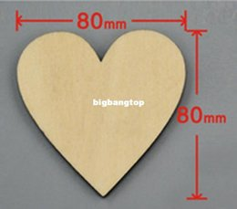 Wholesale Unfinished Wooden - 48pcs bag 80mm Blank unfinished wooden heart crafts supplies laser wood Wedding decoration teaching DIY accessories 001001071