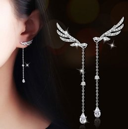 Wholesale Cheapest Priced Jewelry Wholesale - High quality but cheapest price beautiful elegant design angel wing jewelry fashion sliver crystal drop earrings
