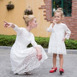 Wholesale Matching Mommy Daughter Dresses - Mother and Daughter Dress Lace Princess Family Clothes Mommy Mom Girls Matching Skirt Fashion Summer White Black