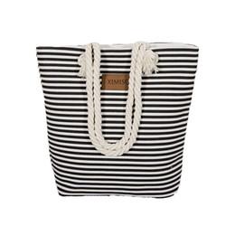 Wholesale Girls Shops - Wholesale-Girl Leisure Summer Canvas Shopper Shoulder Bag Striped Beach Bags Big Capacity Tote Women Ladies Casual Shopping Handbag Bolsa