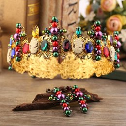 Wholesale Bridal Tiara Hair Crown Sets - Retro European 2 Pieces Gold Queen Hair Jewely Blue&Red Rhinestones Crown Tiara Earrings Jewelry Sets for Party Weddings Bridal