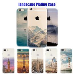 Wholesale Iphone Big Case - For Apple iphone 6 6S plus iphone 7 plus SE silicone case landscape Plating TPU cell phone cases Elizabeth Tower Big Ben Eiffel
