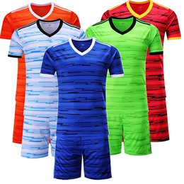Wholesale Game Uniform Red - The new 2017 blank soccer uniform Running Wear training suit men's football jersey kits team game print name number logo