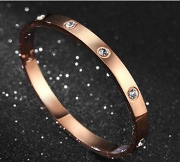 Wholesale Quality Forever - Top quality Gold Silver Rose Gold plated screw forever love Bangle for women set with flash crystal