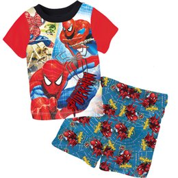 Wholesale Set Summer For Boys - Wholesale Baby Boys Summer Pajamas Children cartoon Spiderman 2pc Short sleeved sleepwear set for 2-7Y Kids clothes