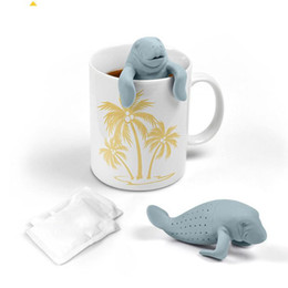 Wholesale Silicone Tea Leaf Infuser - 5 colors Tea Infuser   Manatee Mana Tea Strainers Silicone Manatea Tea Infuser Strainers Infuser Mana Leaf Filter Manatee Diffuser Te Infuse